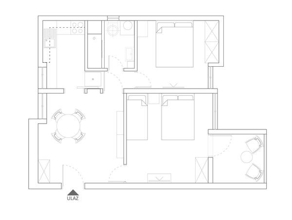 Budva -dvosoban stan za max 6 osoba